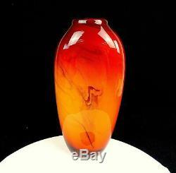 Dan Bergsma Signé # 256 Pilchuck Cased Art Glass Marbleized Swirl 12 3/4 Vase