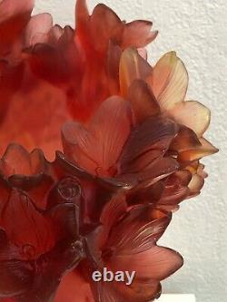 Daum France Pate De Verre Safran Art Glass Vase Numéroté Edition