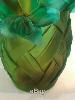 Daum France Pâte De Verre Tulip Art Glass Vase Tressage Édition Numéroté