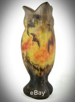 Daum Nancy Art Nouveau Acide Etched'bats '-'chauves Souris' Vase En Verre Camée
