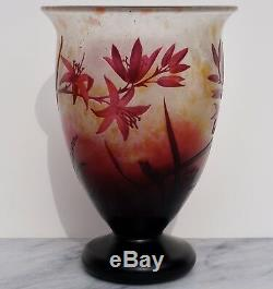 Daum Nancy Art Nouveau Cameo Floral Vase 1920 Red Footed