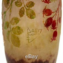 Daum Nancy Art Nouveau Rose Vase En Verre Cameo, Époque 1900