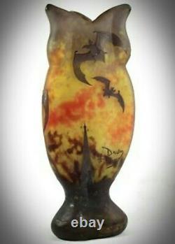 Daum Nancy Art Nouveau Vase En Verre Bats'/'chauves Souris Souris' / Halloween