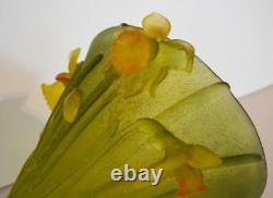 Daum Nancy Art Verre En Cristal Jonqiulles Jonqiulles Daffodils Unique 9,5 Hauteur Grand Vase