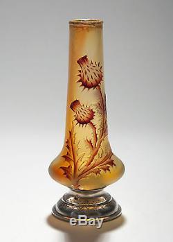 Daum Vase Chardon Camée Art Nouveau Verre Français Vers 1900 Signé À La Base