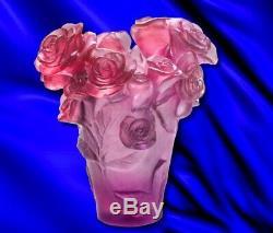 Daum Vase Passion Cristal Roses Rose Art Verre Fabriqué En France