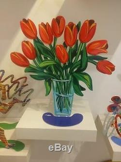 David Gerstein Métal Art Moderne Sculpture Tulipes Fleurs Dans Un Vase En Verre Nouveau