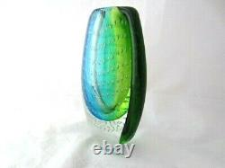 De Forme Ovale Lourde Murano Somerso Style Art Vase En Verre Bleu Vert & Bullicante