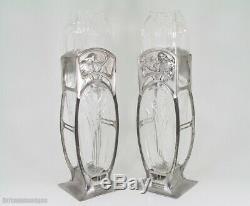 Divine Wmf Art Nouveau Verre Jeunes Filles Et Fleurs Paire De Vases