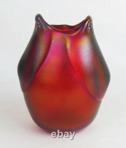 Dominick Labino 1975 Red Iridescent Studio Art Chouette En Verre Vase Figurine