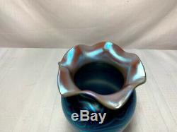 Durand Art Glass, Blue King Tut Vase, Très Belle Excellente