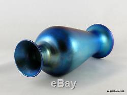 Durand Glass Art 1707 D Irisé Argent Vase Bleu Ca. 1925