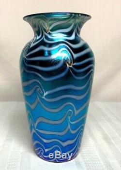 Durand Verre Art, Grand Roi Tut Coil Vase, Blanc Sur Bleu Irisation, Nice