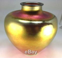 Élégant Grand Vase Steuben Aurene Aurene Doré Art Deco Par Frederick Carder