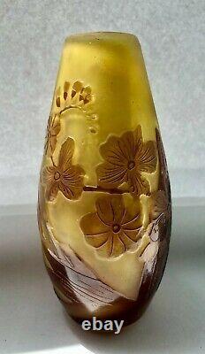 Emile Gallé Français Vase En Verre D'art Gold+chocolate Floral Pattern, Vente 20% Off