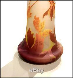 Emile Galle Rare Grand 4 Couleur Cameo Verre Vase Signé Antique Art Français