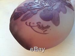 Emile Galle Vase En Verre Camée Solifleur C. 1905 Antique Art Nouveau