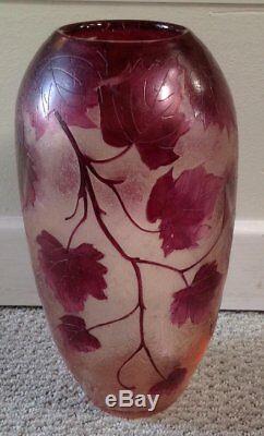 En Vente Grand 11 Legras Français Cameo Art Glass Vase Superbe