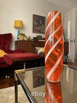 Énorme Orange Vintage Alrose Murano Glass Floor Vase Verre D'art Italien