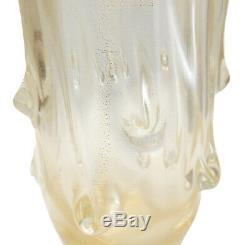 Ercole Barovier Or Fleck Art Texture Goutte À Goutte En Verre Molten Vase, Vers 1970