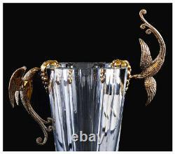 Erte Rare Baccarat Crystal Vase Grapes Signed Bronze Art Déco Grand Oiseau Verre