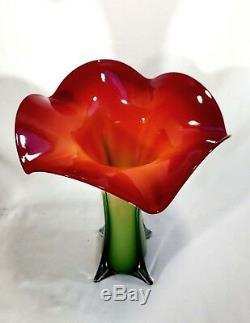 Étourdissant! Paire (2) Vase En Verre De Murano Art Vénitien Calla Lily Jack Dans La Chaire