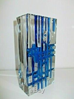 Exbor Novy Bor Ladislav Oliva Vase En Verre Glas Art Tchèque Des Années 60 H 21 CM 2,1 KG Rar