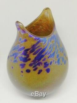 Exquis Norman Stuart Clarke Vase En Verre D'art Irisé Signé Et Daté 1985