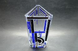 Exquis Tchèque Art Déco En Cristal Clair En Verre Noir Émail Bleu Vase Karl Palda