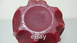 Extrêmement Verre Rare Solide Consolidé Rouge Art Déco Martele Vignes 7 Vase, Monnaie