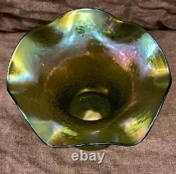 Fabuleux Antique Rindskopf 19ème C. Verre D'art Iridescent Pois Doux Vase Nice