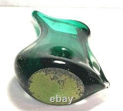 Fabuleux MID Century Sommerso Vase En Verre D'art Vert Aqua Case Ventian