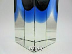 Facette De Bloc Murano Coupe Vase En Verre De L'art Gris Bleu Murano Mandruzzato