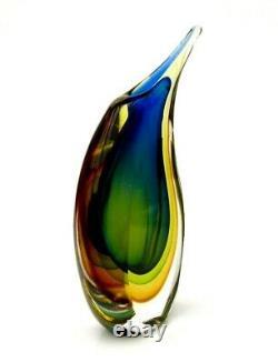 Fantastique Haute Qualité Murano Sommerso Vase En Verre D'art Submergé Formia / Onesto
