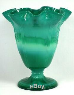 Fenton Art Du Verre Dames De Danse Vert De Mongolie Grand Vase Ca 1934