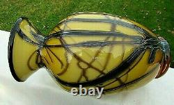 Fenton Art Glass Dave Fetty 07 Ooak Miel Amber-black Applique Vase 9.5h (2)