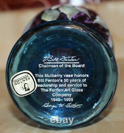 Fenton Art Glass Mulberry Vase George/bill Fenton 50 Ans 1946-1996 Sue Jackson