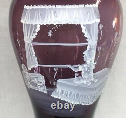 Fenton Art Verre Peint À La Main Twinkle Twinkle Mary Gregory Sur Le Vase De L'aubergine