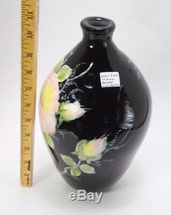 Fenton Barber Fetty Louise Piper 1976 Art Glass Peint À La Main Vase Échantillon