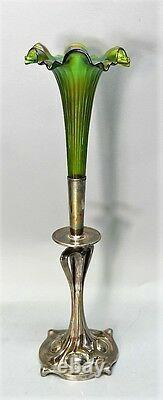Fine 19 Art Nouveau Bohemia Art Verre Trompette Vase, Probablement Loetz C. 1910