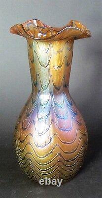 Fine 8.25 Kralik Blue Wave Bohemian Art Nouveau Vase En Verre Vers 1902 Antique +