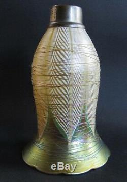Fine 8 Abat-jour En Torchère En Verre Art Durand Green & Gold Antique, Env. Vase Lampe 1910