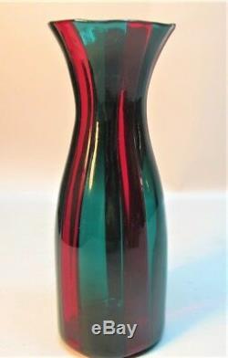 Fine Fulvio Bianconi Pour Venini Murano Vase À Carafe En Verre À L'art Italien C. Années 1950