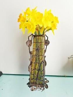 Fine Loetz Autrichien Bohemian Glass Art Nouveau Vase W Bronze Stand Poppies 1915