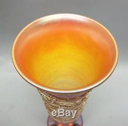 Fine Signé 12 Durand Art Deco Vase En Verre Avec Threading C. 1915 Antique