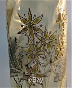 Fine Signé Early Emile Galle Gravé & Art Glass Vase Émaillé C. 1885 Nouveau