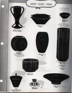 Fostoria George Sakier Verre Lotus Ligne Vase N ° 2428 Noir Ébène Art Déco Eames