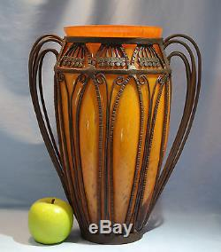 Français Art Déco Dubois Orange Verre Et Fer Forgé Vase Circa 1925