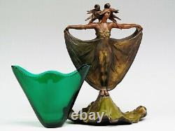 French Elegant Art Nouveau Bronze Deux Nymphes Avec Insert En Verre Vert D'origine