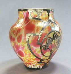 Fritz Heckert Art Glass Vase Mormopal Recouvert D'argent Sterling Ca. 1902 Époque Loetz